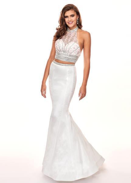 Rachel Allan - Beaded High Halter Taffeta Mermaid Gown 6511SC