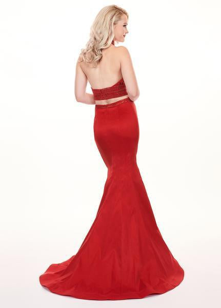 Rachel Allan - 6511 Beaded Halter Taffeta Two-Piece Mermaid Gown In Red