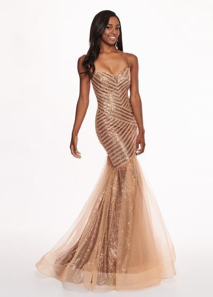 Rachel Allan - 6513 Sequined Sweetheart Mermaid Evening Gown In Brown