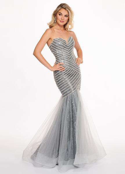 Rachel Allan - 6513 Sequined Sweetheart Mermaid Evening Gown In Silver