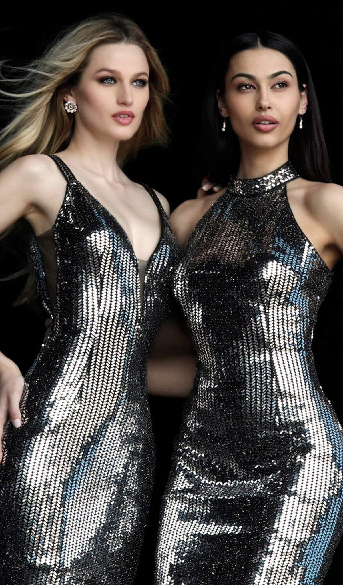 Jovani - 65169 Plunging V-Neck Novelty Sequined Dress in Black and Silver