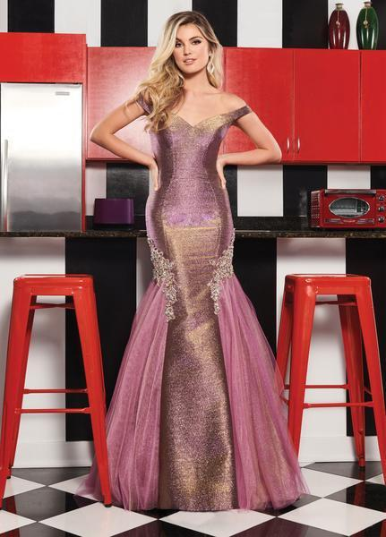 Rachel Allan - 6518 Two-Toned Metallic Off Shoulder Trumpet Gown In Pink and Neutral