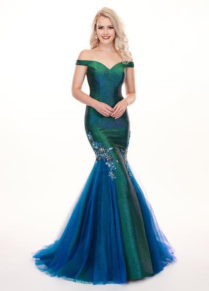 Rachel Allan - 6518 Two-Toned Metallic Off Shoulder Trumpet Gown In Blue and Green