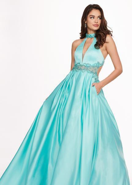 Rachel Allan - 6528 Beaded Midriff Cutout Bodice Gown In Green and Blue