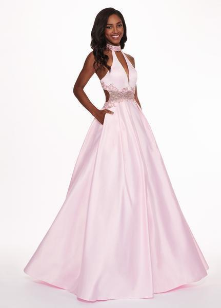 Rachel Allan - 6528 Beaded Midriff Cutout Bodice Gown In PinkRachel Allan - 6528 Beaded Midriff Cutout Bodice Gown In Pink