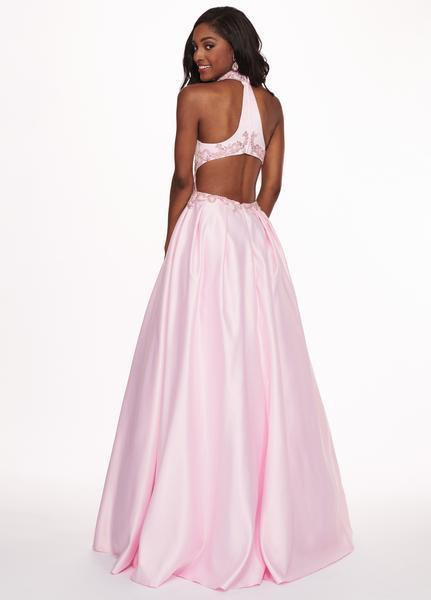 Rachel Allan - 6528 Beaded Midriff Cutout Bodice Gown In Pink