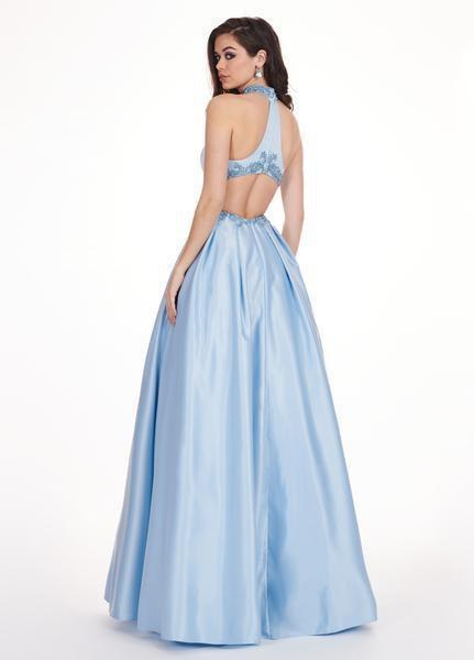Rachel Allan - 6528 Beaded Midriff Cutout Bodice Gown In Blue