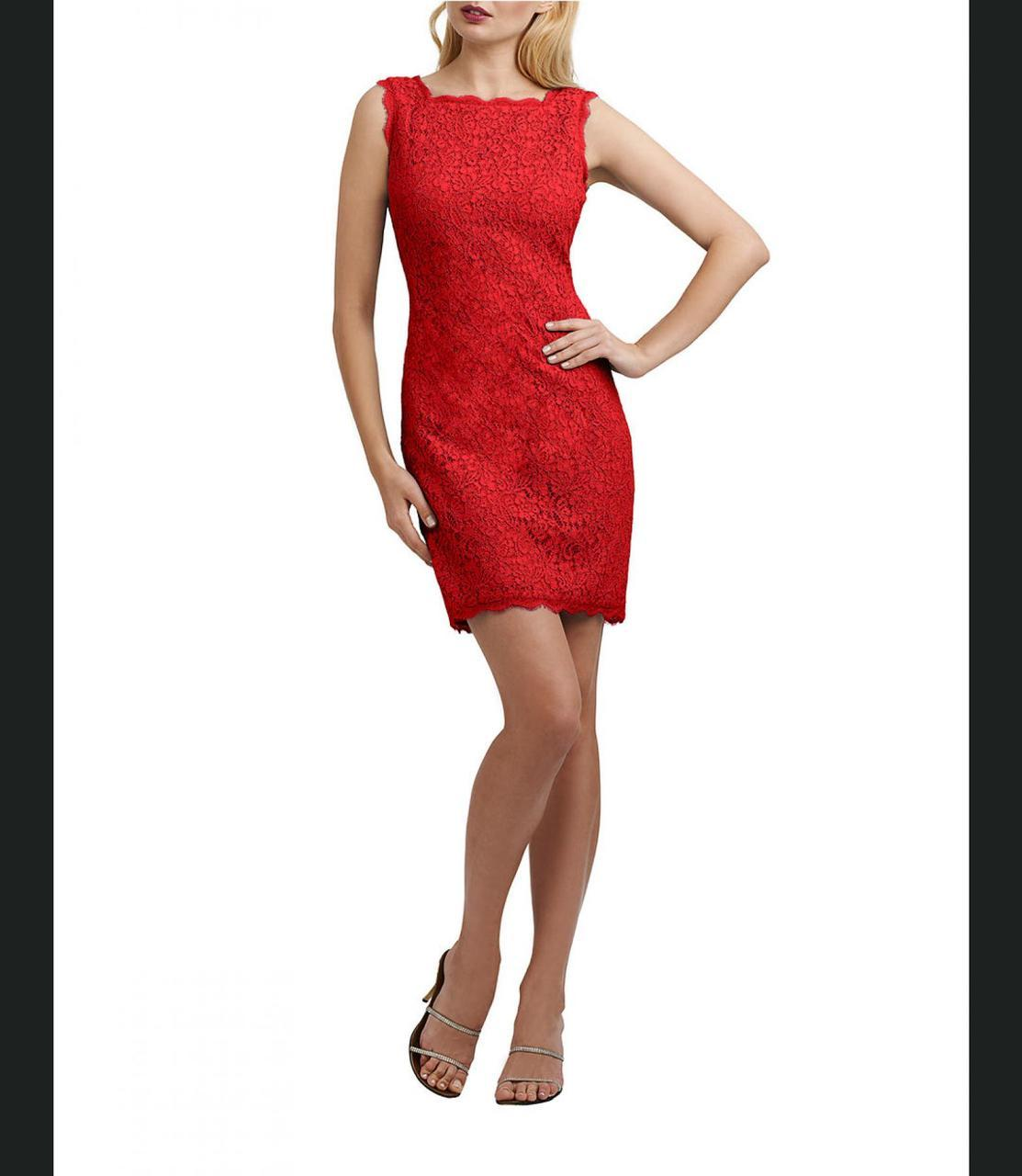 Adrianna Papell - Bateau Neck Lace Sheath Dress 41871750 in Red