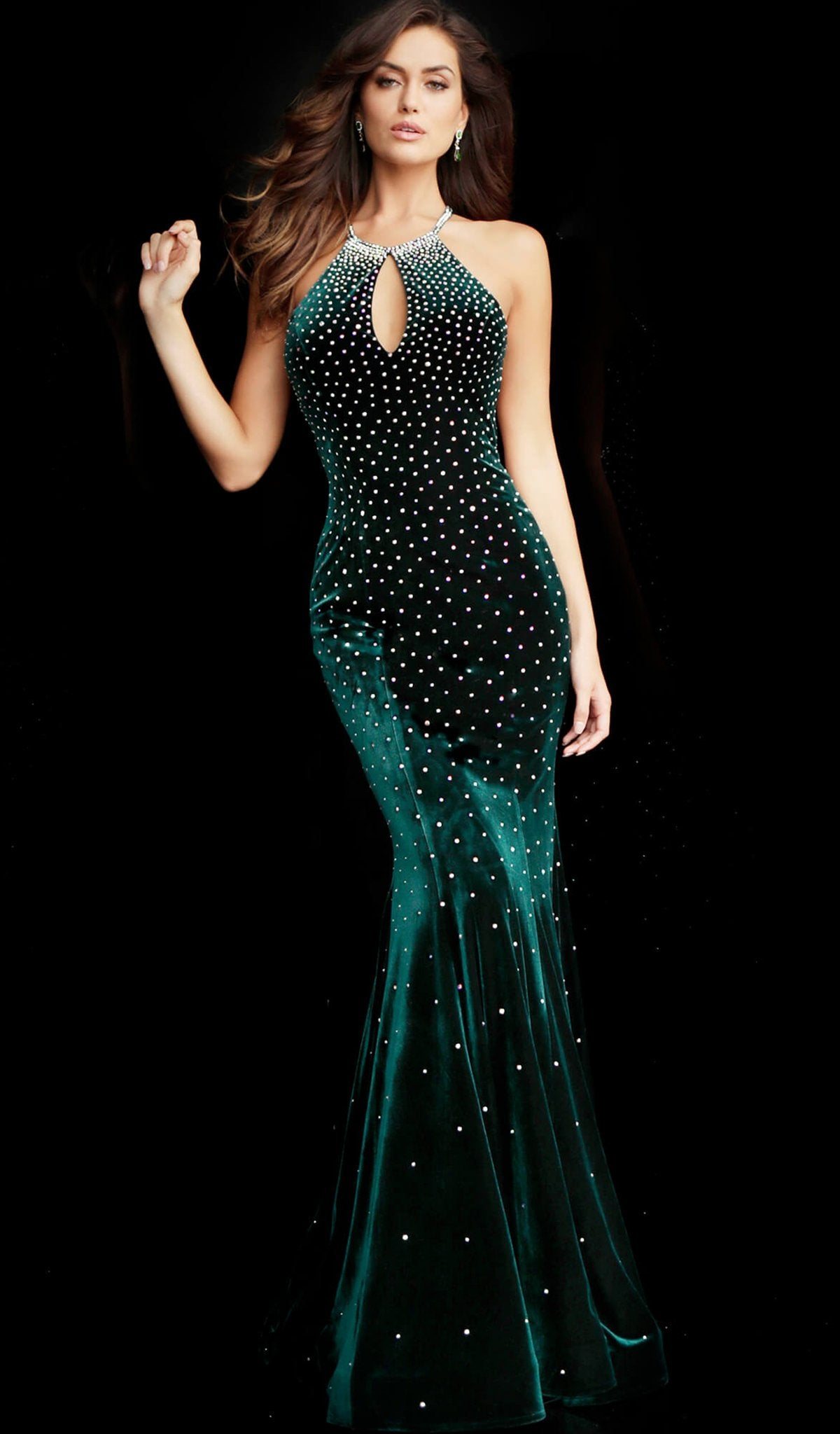 Jovani - 65312 Jewel Sprinkled Halter Cutout Velvet Gown in Green