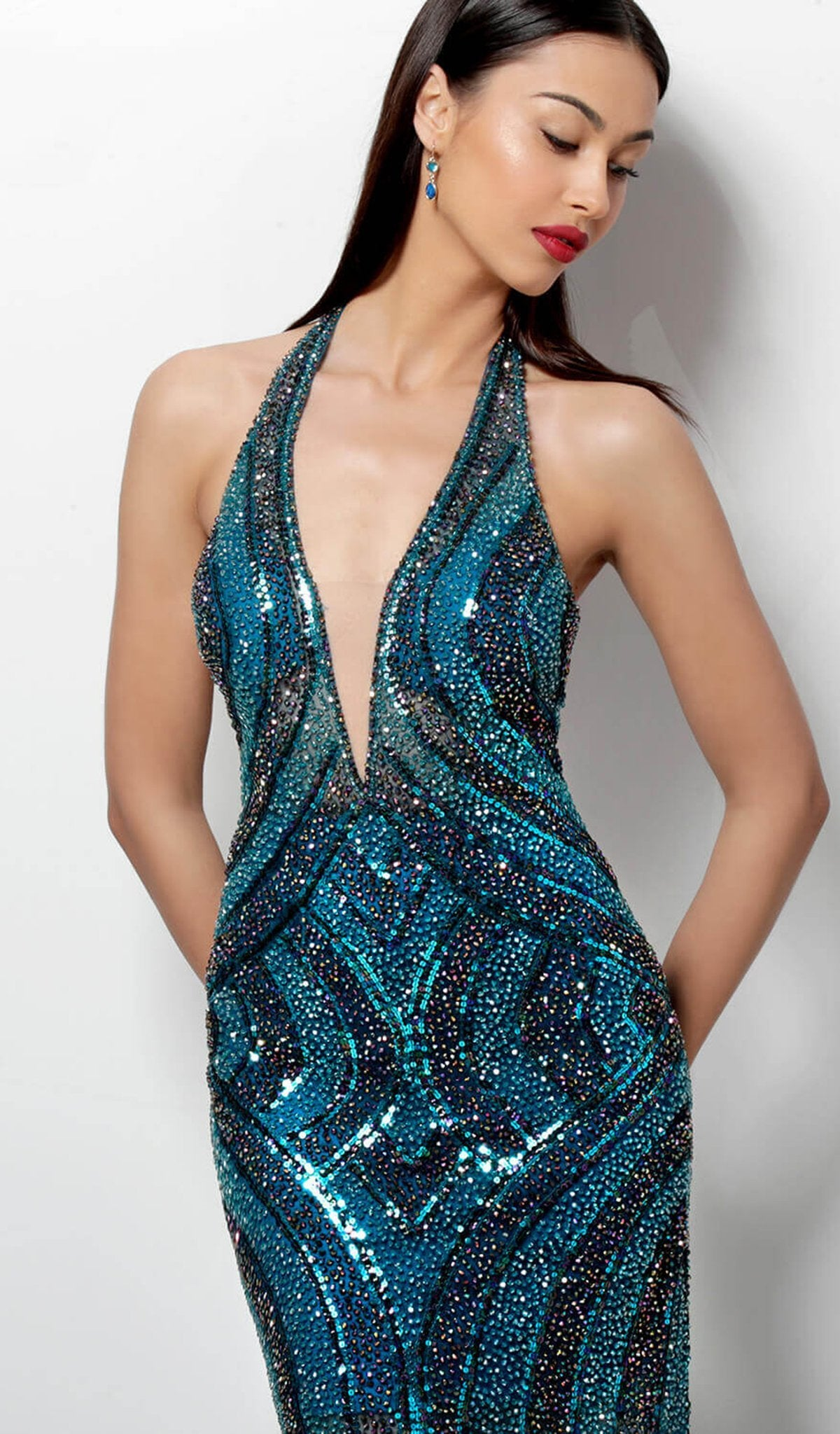 Jovani - 65350SC Halter Deep V Neck Backless Beaded Cocktail Dress