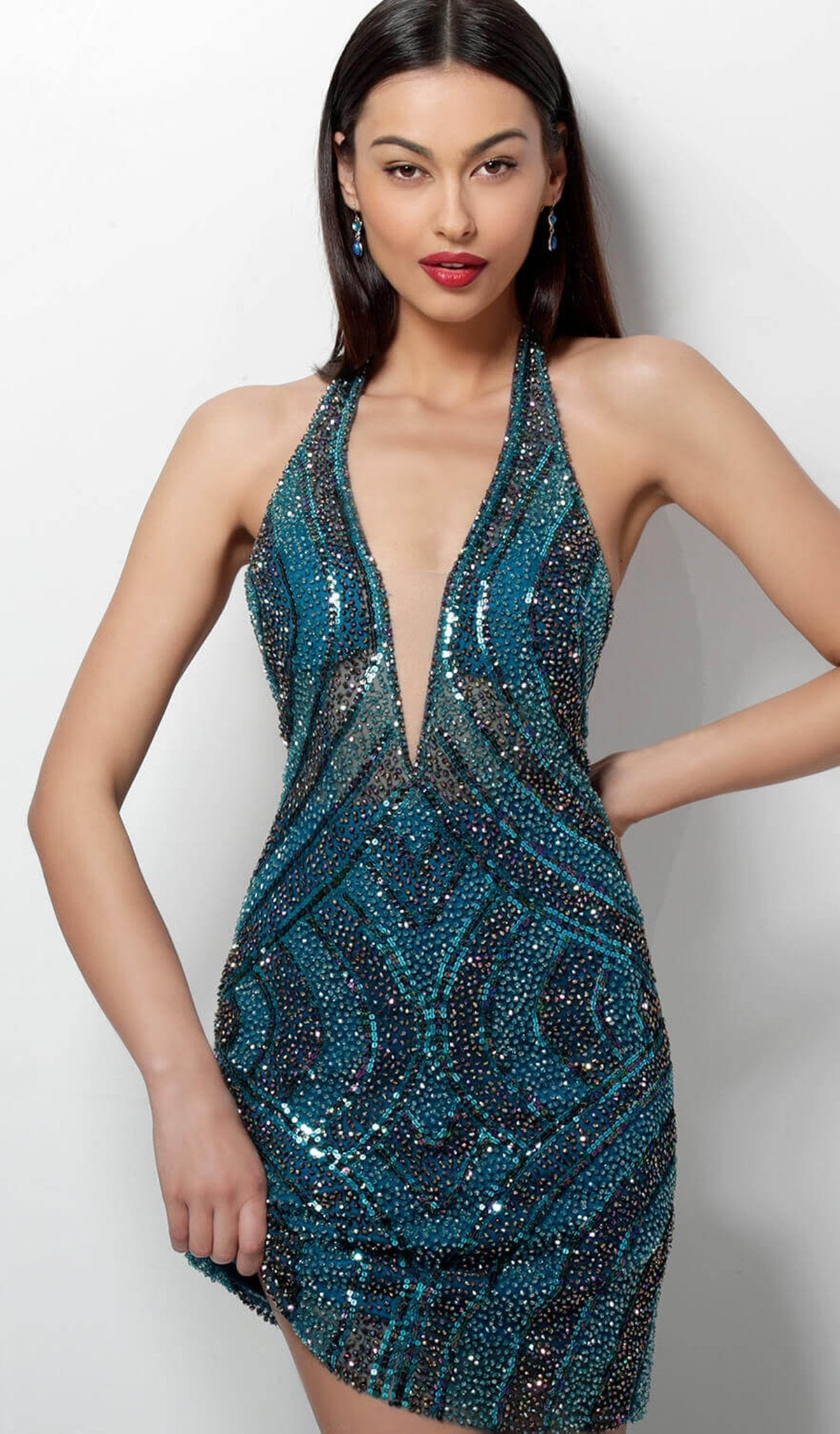 Jovani - Beaded Halter Open Back Cocktail Dress 65350 In Blue and Green