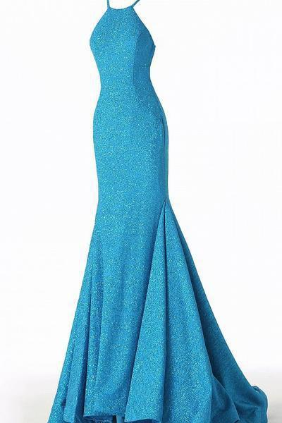Jovani - 65416 Sleeveless Open Back Glitter Jersey Mermaid Gown In Blue and Silver
