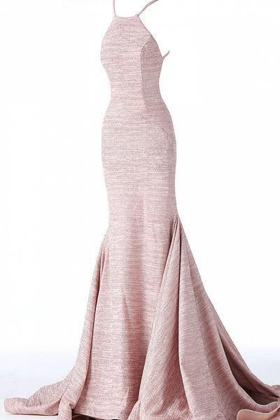 Jovani - 65416 Sleeveless Open Back Glitter Jersey Mermaid Gown In Pink and Neutral