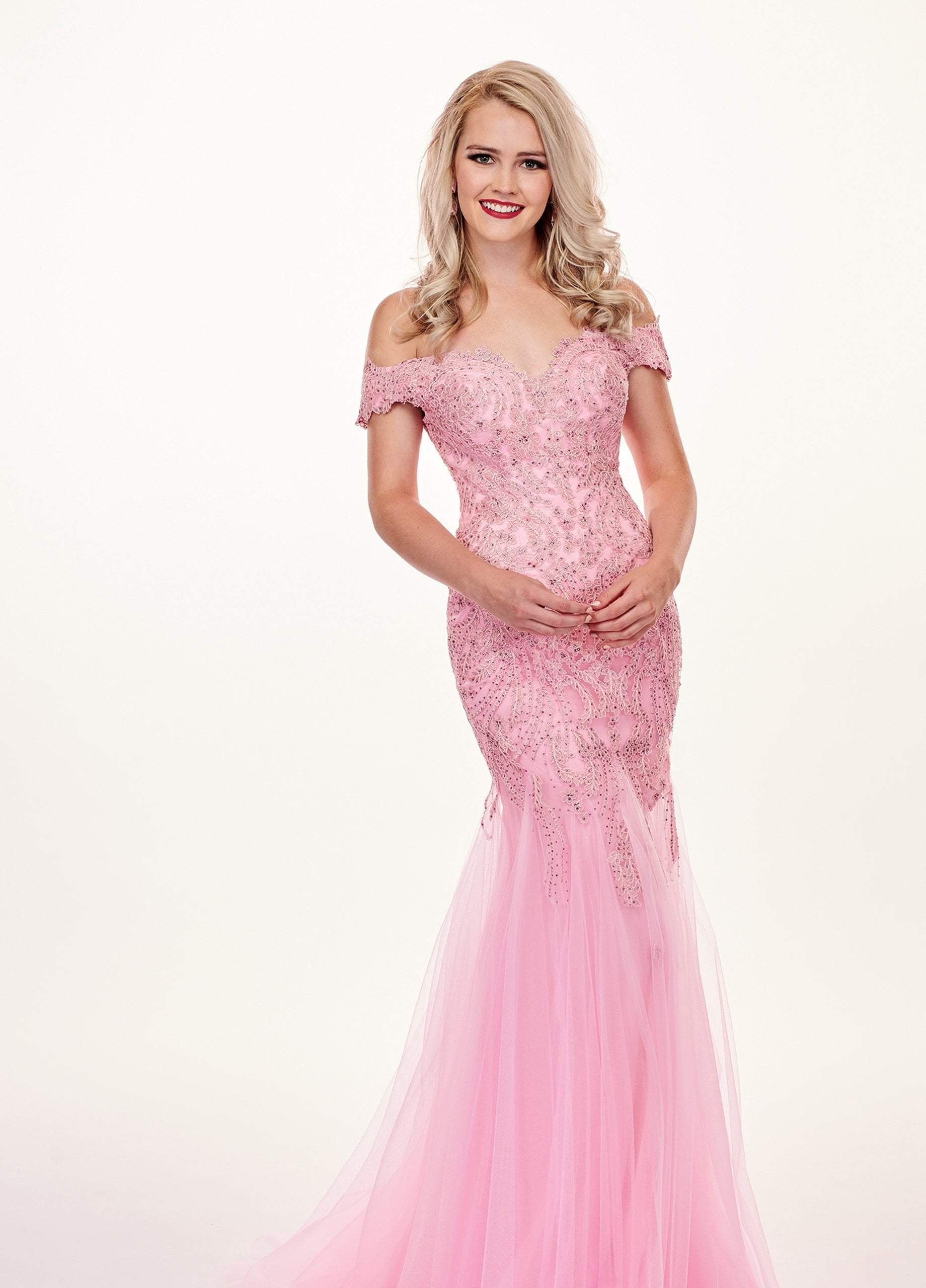 Rachel Allan - 6545 Lace Appliqued Off Shoulder Tulle Mermaid Gown In Pink