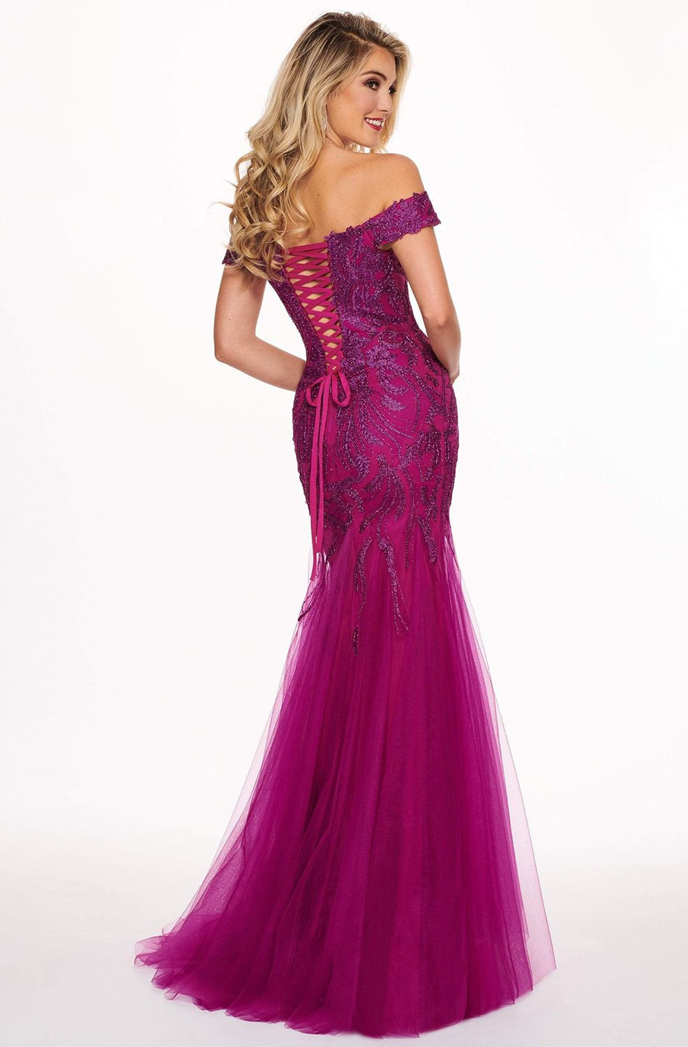 Rachel Allan - 6545 Lace Appliqued Off Shoulder Tulle Mermaid Gown In Purple and Red