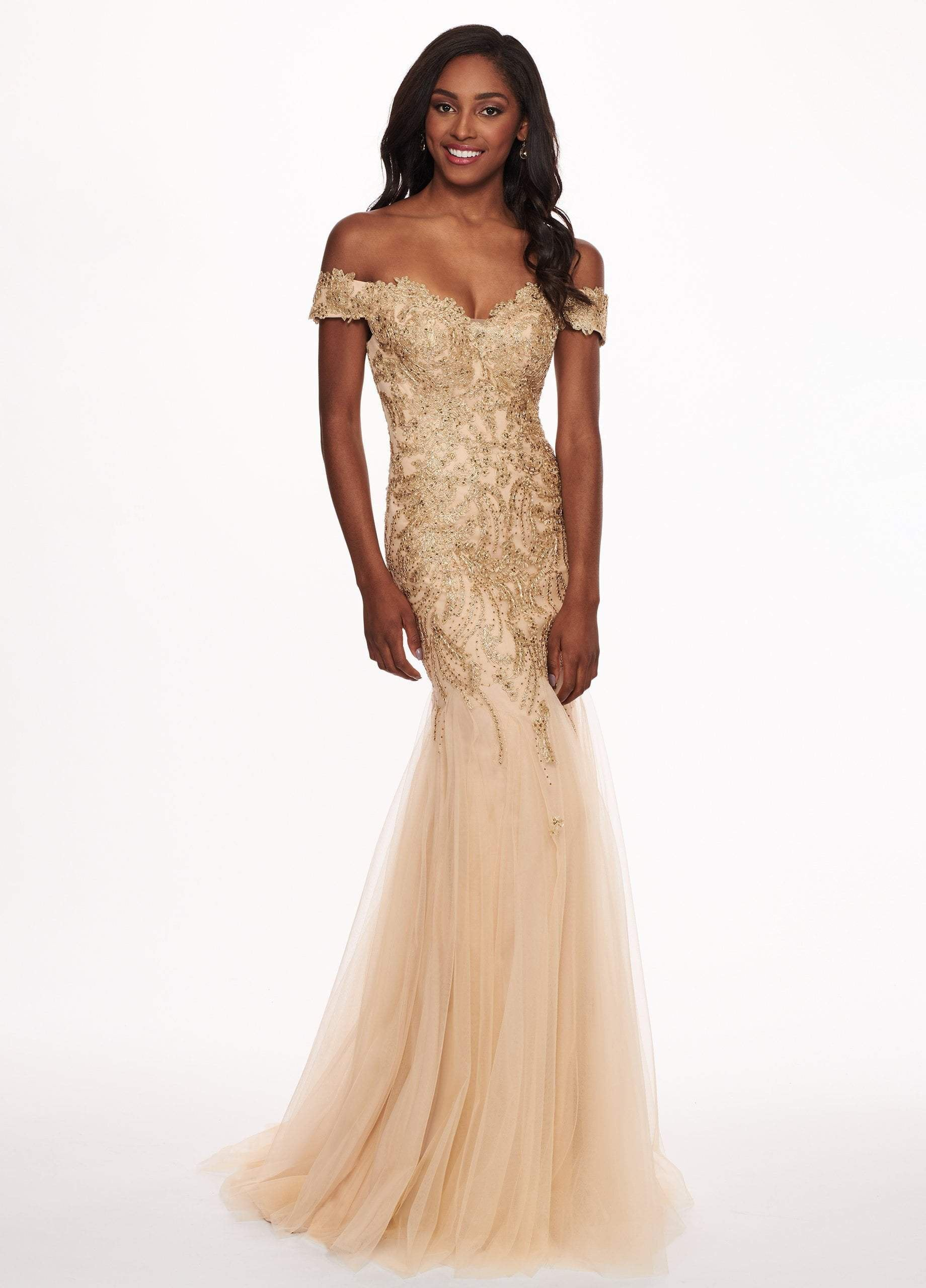 Rachel Allan - 6545 Lace Appliqued Off Shoulder Tulle Mermaid Gown In Gold and Neutral
