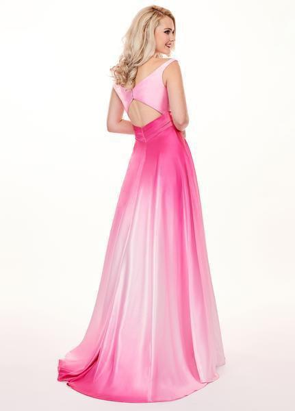 Rachel Allan - 6552 Two Piece Plunging Off-Shoulder A-line Dress In Pink