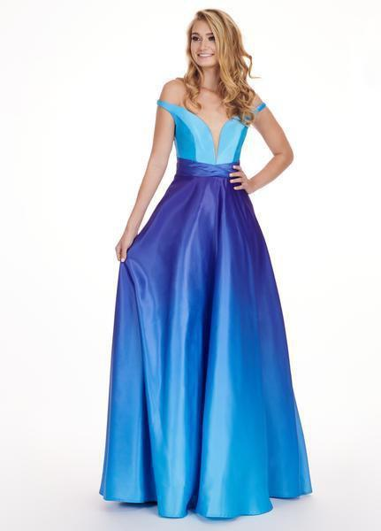 Rachel Allan - 6552 Two Piece Plunging Off-Shoulder A-line Dress In Blue and Purple