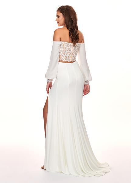 Rachel Allan - 6554 Bishop Sleeve Illusion Corset Bodice Gown In White