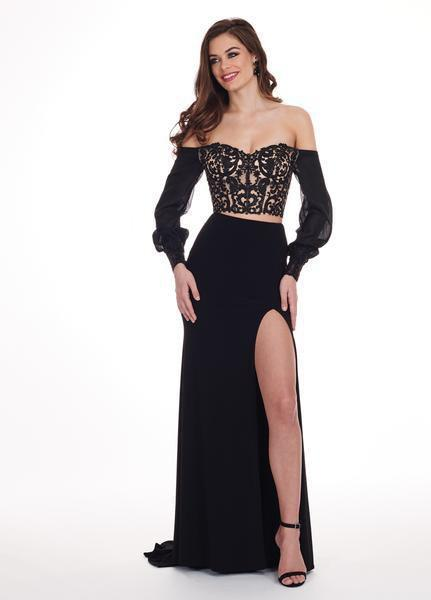 Rachel Allan - 6554 Bishop Sleeve Illusion Corset Bodice Gown In Black