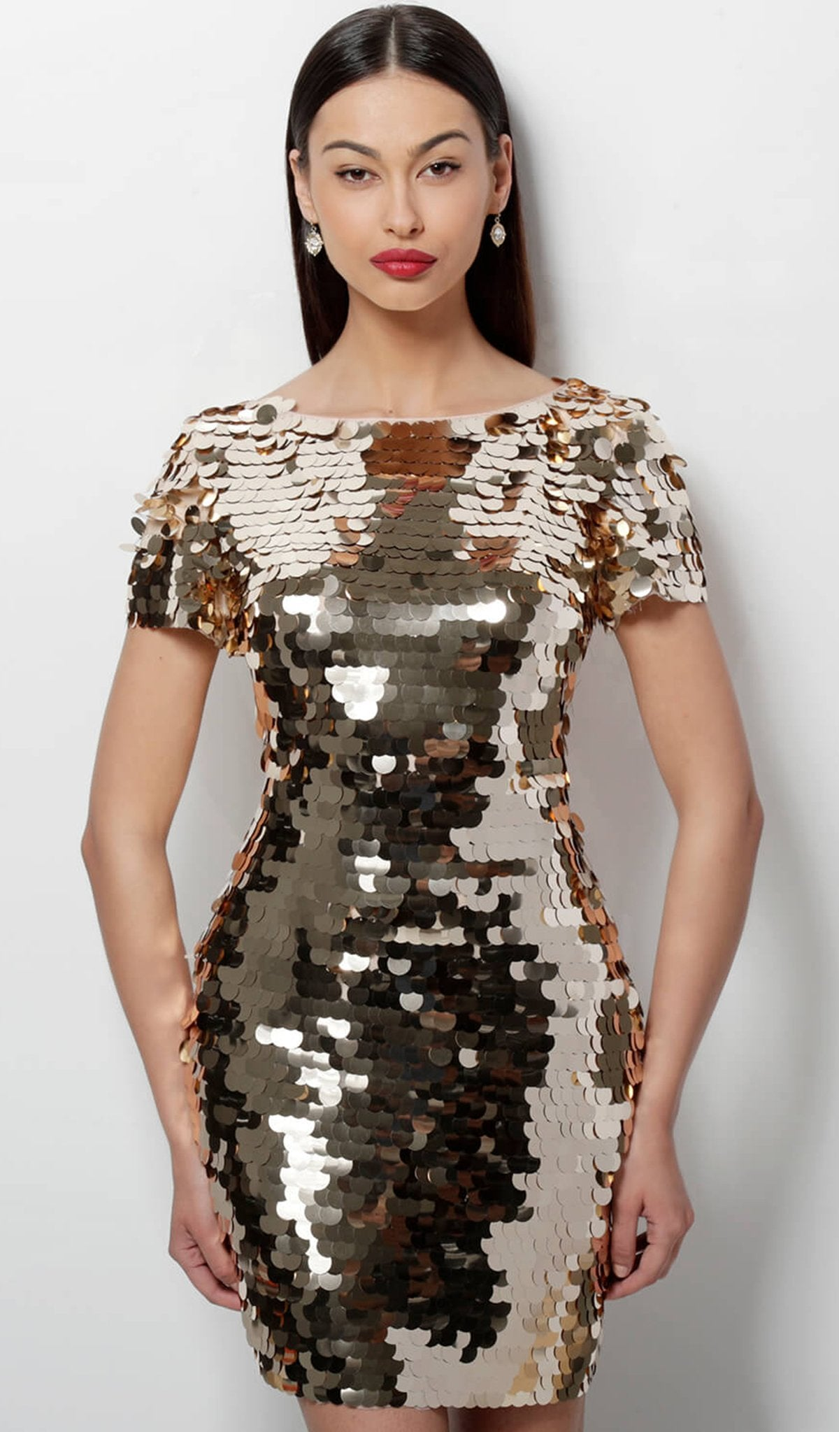 Jovani - 65575 Short Sleeve Bateau Paillette Sheath Dress in Gold