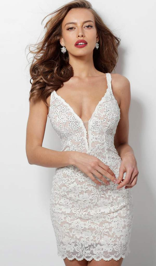 Jovani - Lace Embellished Plunging V-neck Cocktail Dress 65576 In White