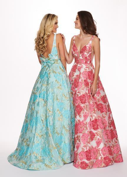 Rachel Allan - 6564 Plunging V-Neck Printed Brocade Gown In Blue and Pink