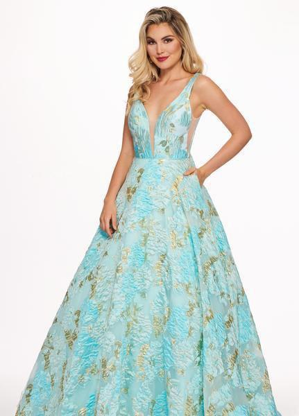 Rachel Allan - 6564 Plunging V-Neck Printed Brocade Gown In Blue