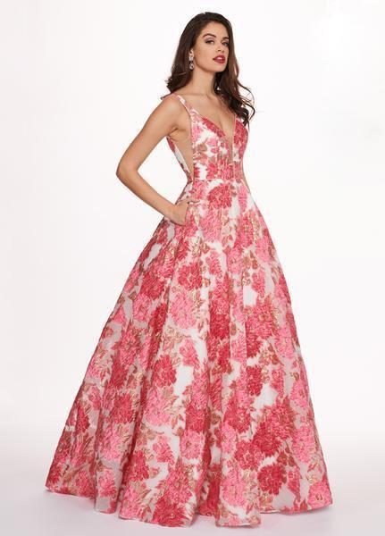 Rachel Allan - 6564 Plunging V-Neck Printed Brocade Gown In Pink