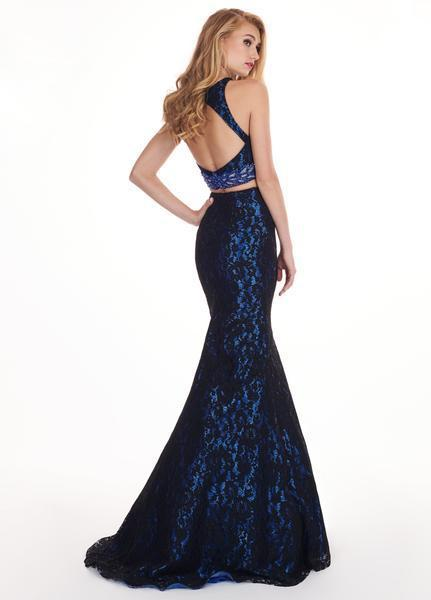 Rachel Allan - 6578 Two-Piece Floral Beaded Lace Mermaid Gown In Black and Blue