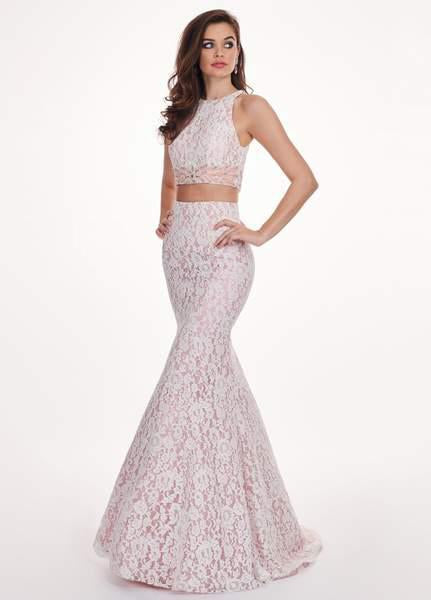 Rachel Allan - 6578 Two-Piece Floral Beaded Lace Mermaid Gown In White and Pink