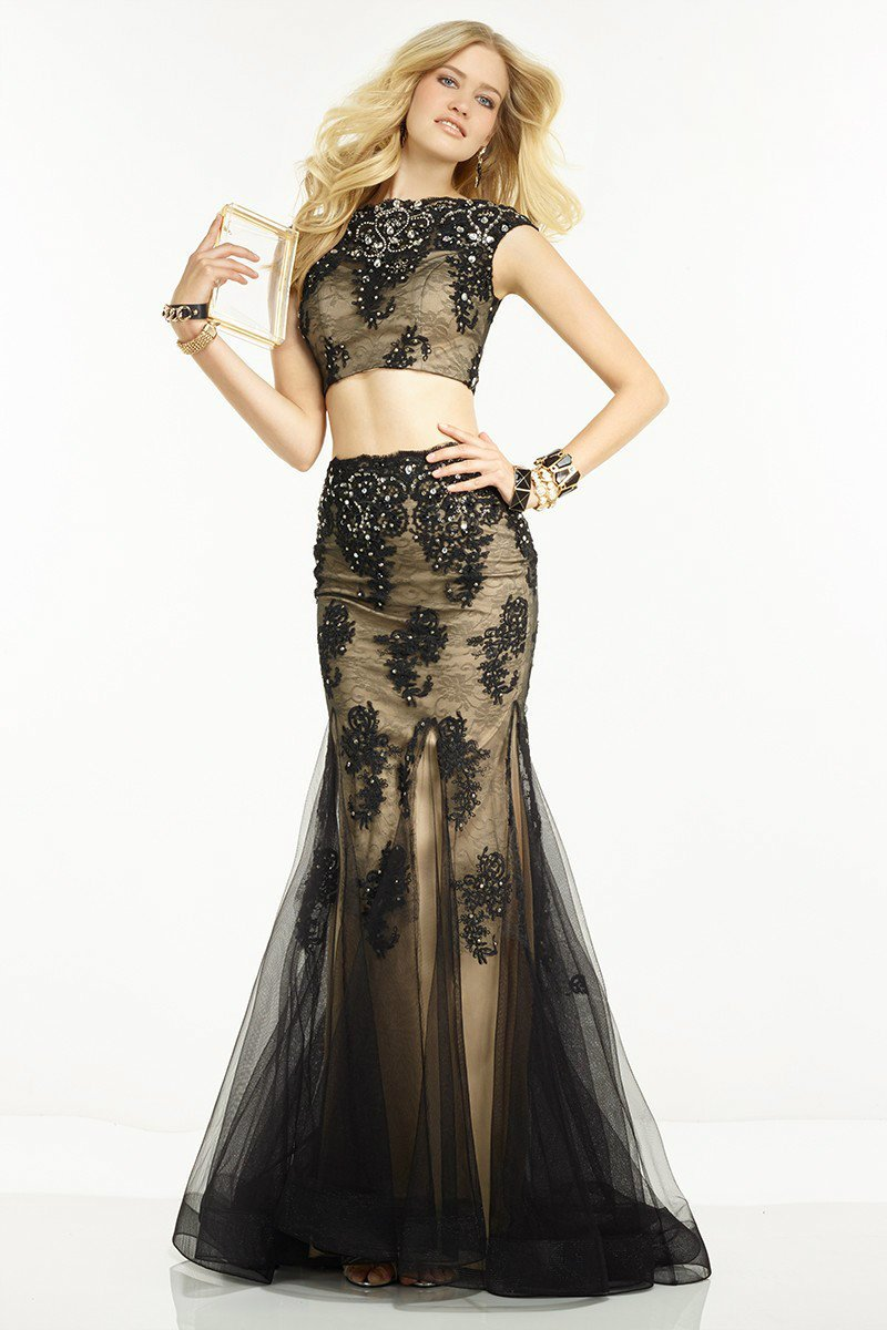 Alyce Paris Two Piece Beaded Embellished Dress 6584 in Black and Nude