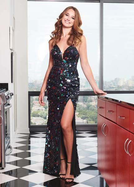Rachel Allan - Sequined Pailette Plunging Sweetheart Gown 6588SC