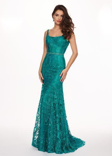 Rachel Allan - Embroidered Lace Scoop Neck Gown 6590 In Green