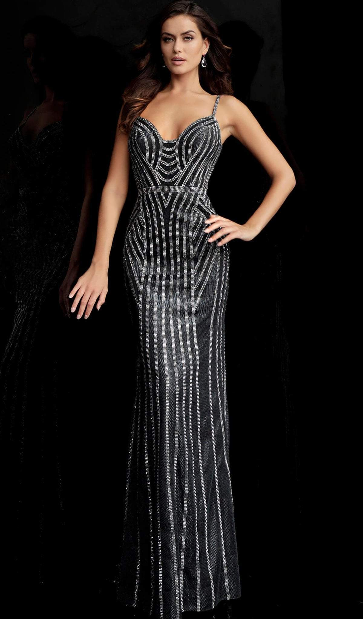 Jovani - 65978 Beaded Sweetheart Fitted Evening Gown in Black and Silver