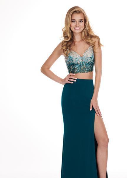 Rachel Allan - 6599 Beaded Sweetheart Dress with Slit In Green