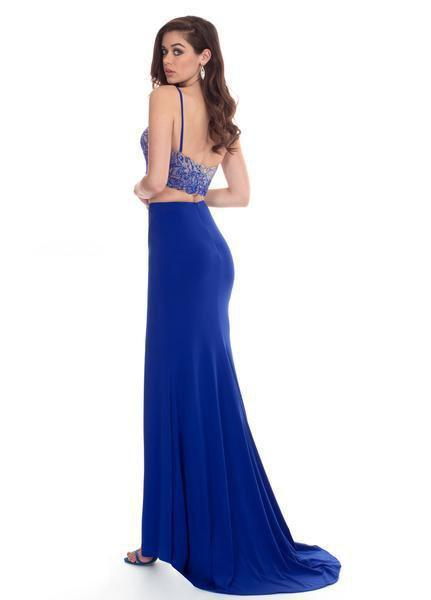 Rachel Allan - 6599 Beaded Sweetheart Dress with Slit In Blue
