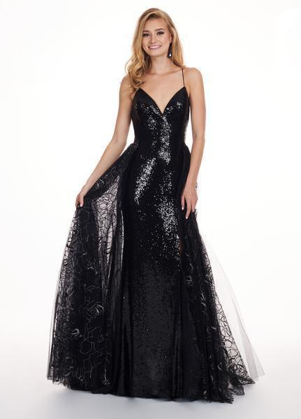 Rachel Allan - 6606 Sequined Sweetheart Gown with Overlay In Black