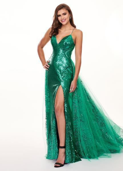 Rachel Allan - 6606 Sequined Sweetheart Gown with Overlay In Green