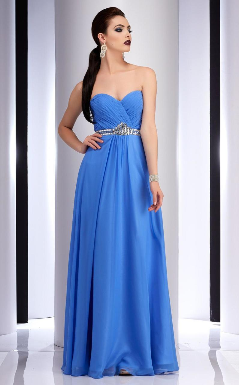 Clarisse - 2827 Ruched Sweetheart A-line Dress in Blue