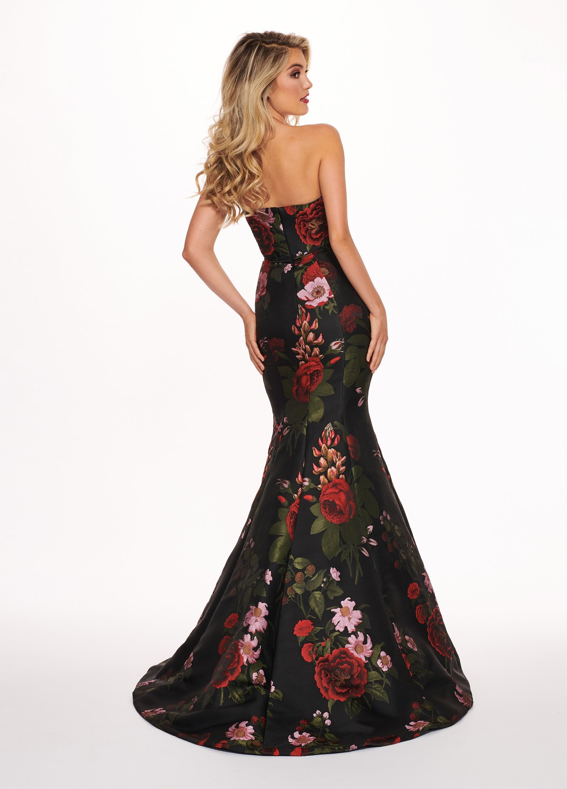 Rachel Allan - 6616 Strapless Sweetheart Jacquard Mermaid Gown In Black and Multi-Color