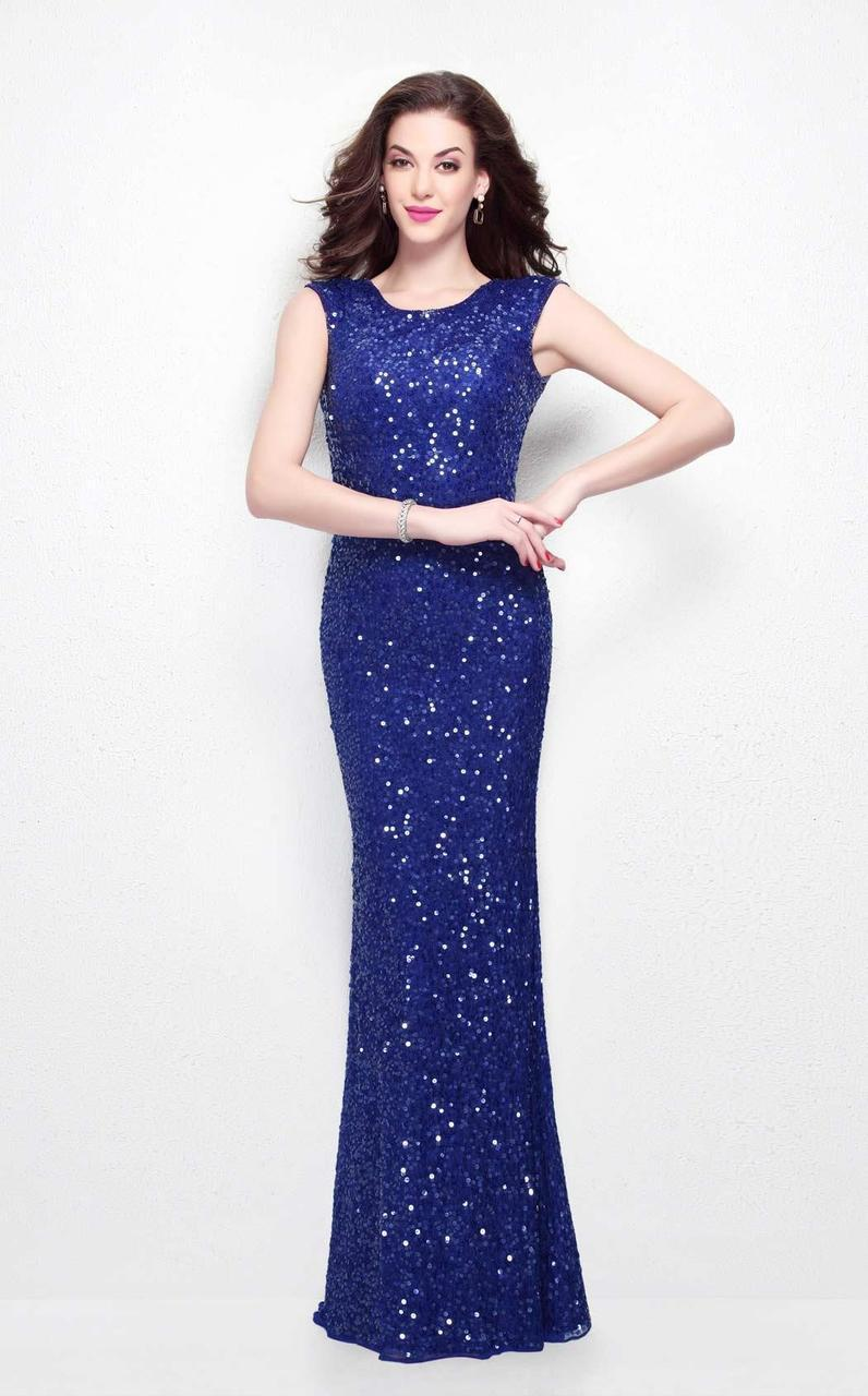 Primavera Couture - 1254 Sequined Scoop Neck Fitted Dress In Blue