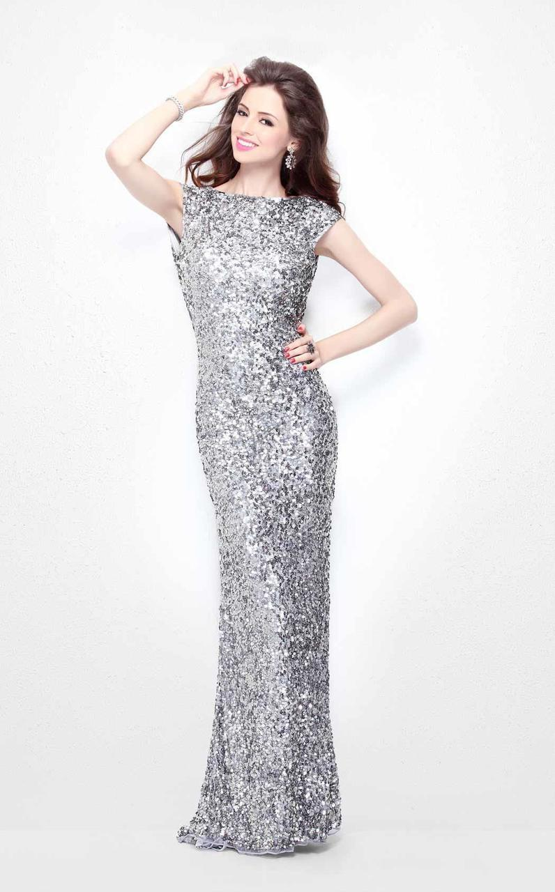 Primavera Couture - Ultra Sparkling Plunging Back Long Sequin Sheath Dress 1256 in Silver