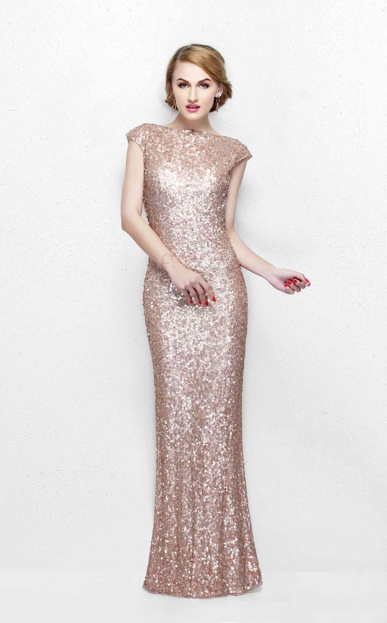 Primavera Couture - Ultra Sparkling Plunging Back Long Sequin Sheath Dress 1256 in Gold