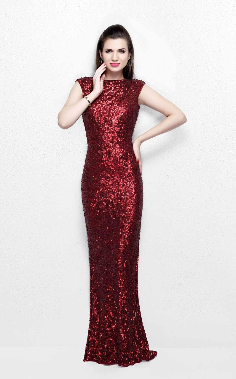 Primavera Couture - Ultra Sparkling Plunging Back Long Sequin Sheath Dress 1256 in Red
