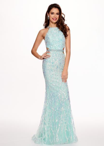 Rachel Allan - 6620 Sequined Midriff Cutout Sheath Gown In Blue and Multi-Color