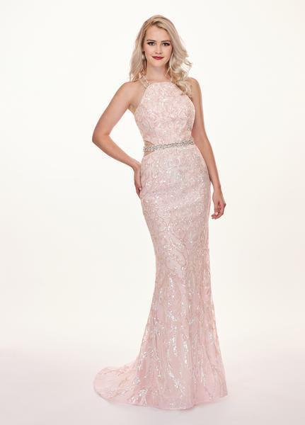 Rachel Allan - 6620 Sequined Midriff Cutout Sheath Gown In Pink and Multi-Color