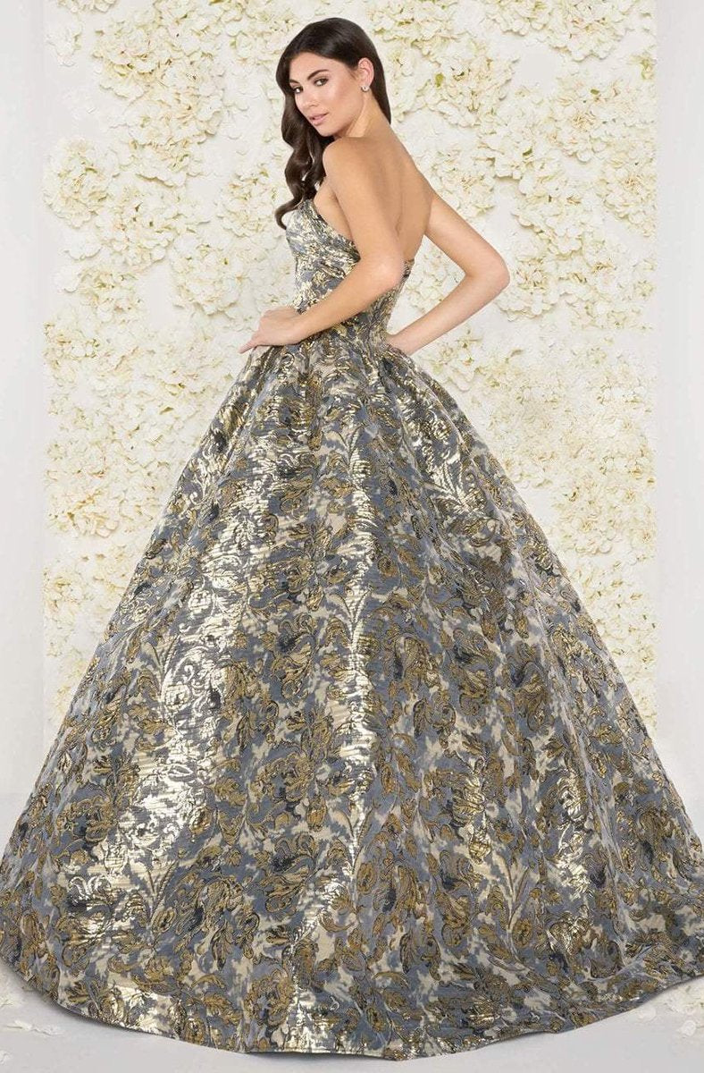 Mac Duggal Couture - 66222D Floral Print Metallic Ballgown in Gray and Gold