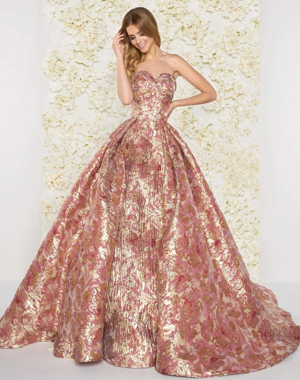 Mac Duggal Couture - 66222D Floral Print Metallic Ballgown in Pink and Gold
