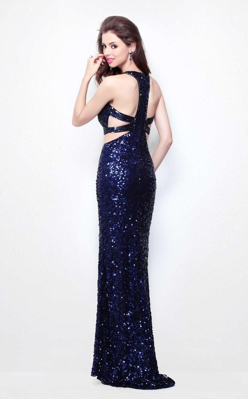 Primavera Couture - 1582 Sequined Halter Neck Sheath Dress in Blue